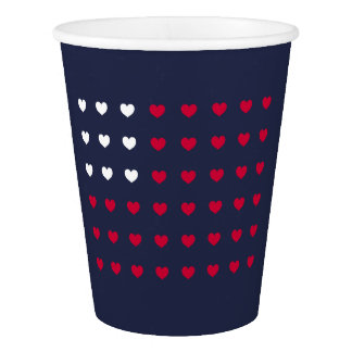 Red and White hearts Inspired by American Flag Paper Cup