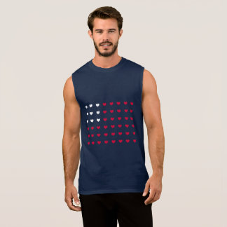 Red and White hearts Inspired by American Flag Sleeveless Shirt