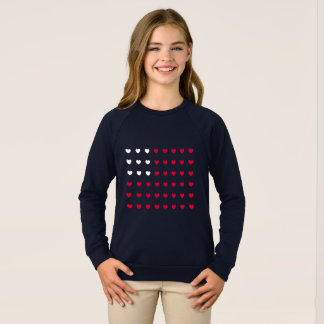 Red and White hearts Inspired by American Flag Sweatshirt