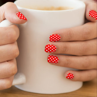 Red And White Hearts Polka Dot Pattern Nails Stickers