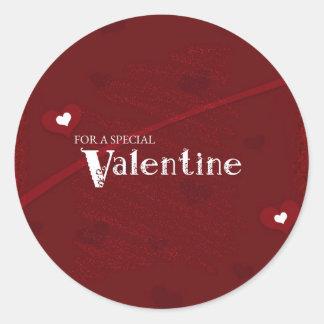 Red and White Hearts Valentine Round Sticker