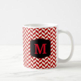 Red and White Herringbone Chevron Pattern Coffee Mug