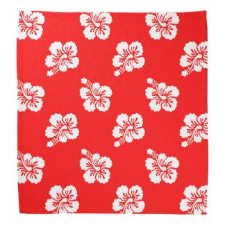 Red and White Hibiscus Hawaiian Pattern Bandana
