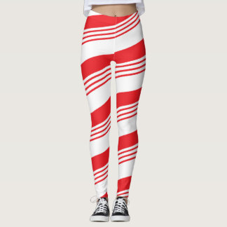 Red and white holiday peppermint candy cane leggings