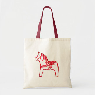 Red and White Horse Tote Bag