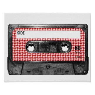 Red and White Houndstooth Label Cassette Poster