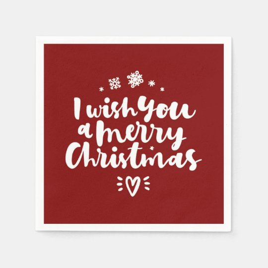 Red And White I Wish You A Merry Christmas Paper Napkin