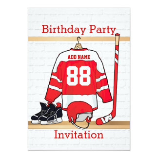 "Red and White Ice Hockey Jersey Birthday Party 5"" X 7"" Invitation Card"