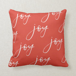 Red and White Joy Script Pillow