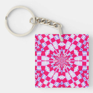 Red and white kaleidoscope design square keychain
