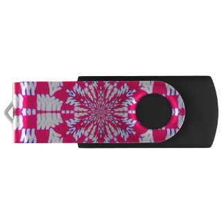 Red and white kaleidoscope design thumb drive