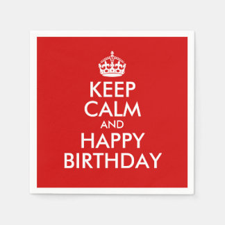 Red and White Keep Calm and Happy Birthday Paper Napkins