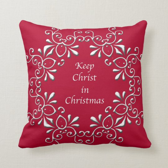 Red and White Keep Christ in Christmas Pillow