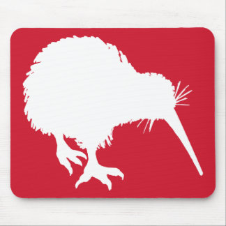 Red and White Kiwi Silhouette Mouse Pad