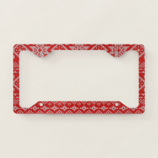 Red And White Knitted Christmas Pattern License Plate Frame