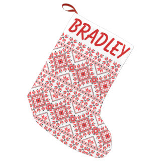 Red and White Knitted Pattern Christmas Stocking