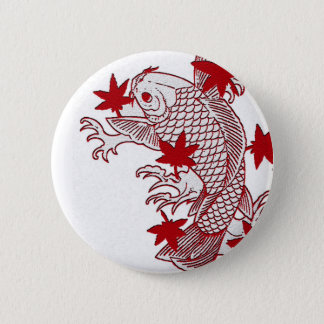 Red and White Koi 2 Inch Round Button