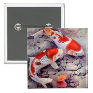 Red and White Koi Fish Pond 2 Inch Square Button