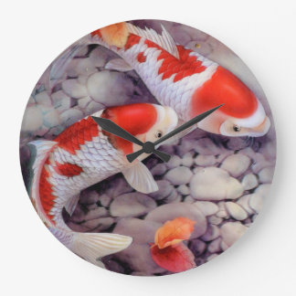 Red and White Koi Fish Pond Large Clock