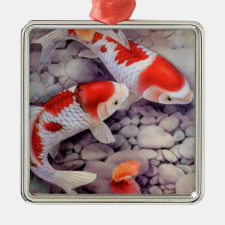 Red and White Koi Fish Pond Metal Ornament