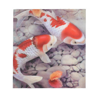 Red and White Koi Fish Pond Notepad