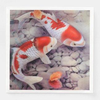 Red and White Koi Fish Pond Paper Napkin