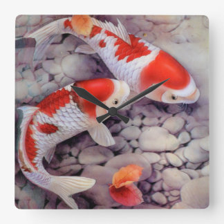 Red and White Koi Fish Pond Square Wall Clock