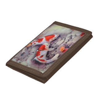 Red and White Koi Fish Pond Tri-fold Wallet