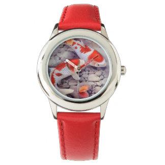 Red and White Koi Fish Pond Watch