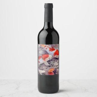 Red and White Koi Fish Pond Wine Label