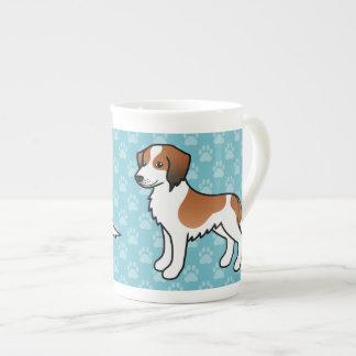 Red And White Kooikerhondje Cartoon Dog Tea Cup