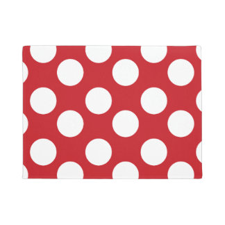 Red and White Large Polka Dot Doormat