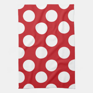 Red and White Large Polka Dot Kitchen Towel
