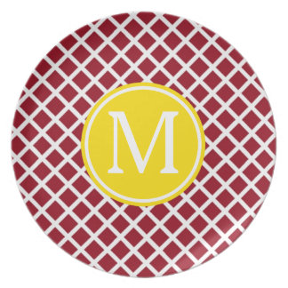 Red and White Lattice With Yellow Monogram Party Plates