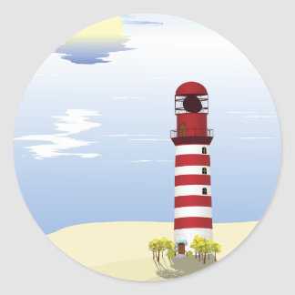 Red And White Lighthouse Stickers