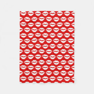 Red and White Lipstick Pattern Fleece Blanket