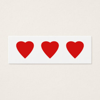 Red and White Love Heart Design. Mini Business Card