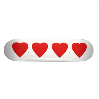 Red and White Love Heart Design. Skate Board Decks
