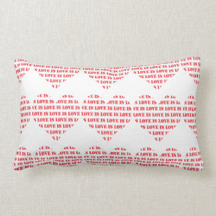 Red and white love is love hearts pattern lumbar pillow
