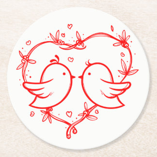 Red And White Lovebirds & Hearts Wedding Party Round Paper Coaster