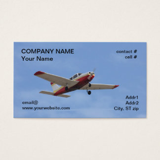 Red and white low wing plane business card