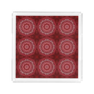Red And White Mandala Pattern Acrylic Tray