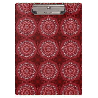 Red And White Mandala Pattern Clipboard