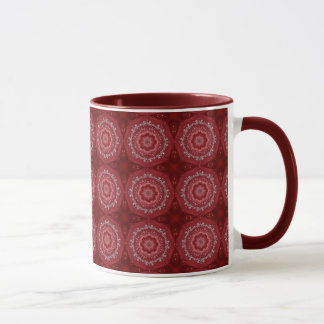 Red And White Mandala Pattern Mug
