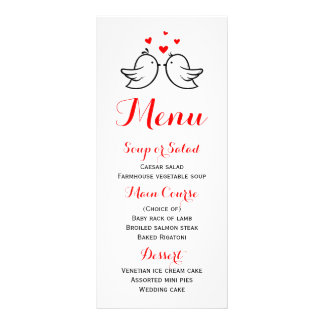 Red And White Menu Lovebirds Wedding Party