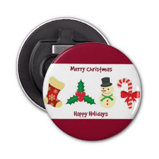 Red And White Merry Christmas And Happy Holidays Bottle Opener