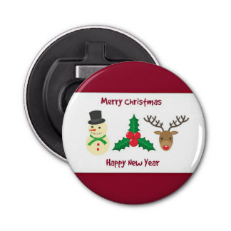 Red And White Merry Christmas And Happy New Year Bottle Opener
