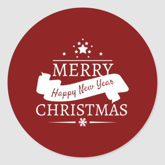 Red And White Merry Christmas And Happy New Year Classic Round Sticker