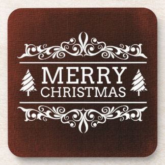 Red And White Merry Christmas Coaster