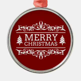 Red And White Merry Christmas Metal Ornament